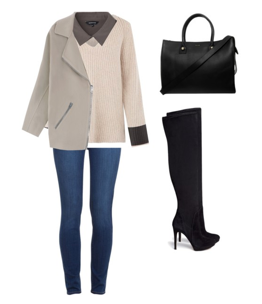 a classy way to style thigh high boots with a silk blouse