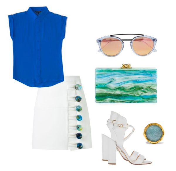 chic summer style blue and white separates