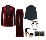 rich bordeaux paired with silk shirts