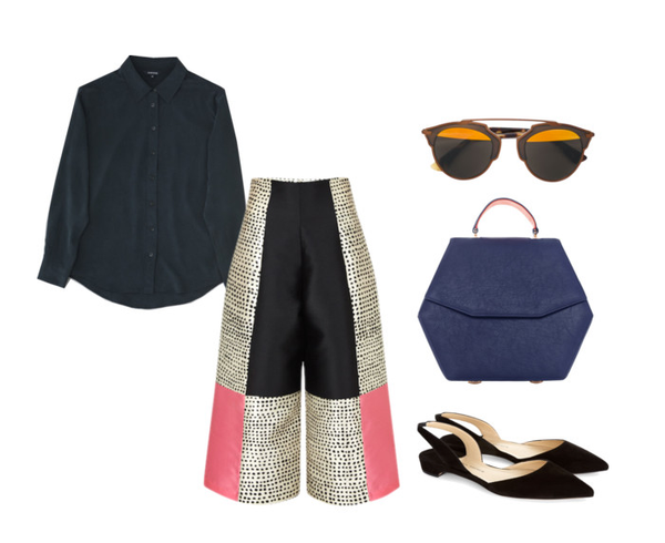 style your culottes with a silks shirt