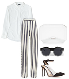 white silk shirting styled with minimalist accessories