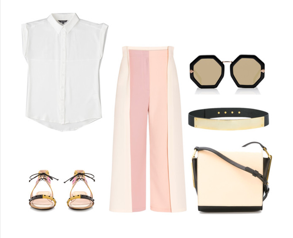 pastel color blocking with silk separates