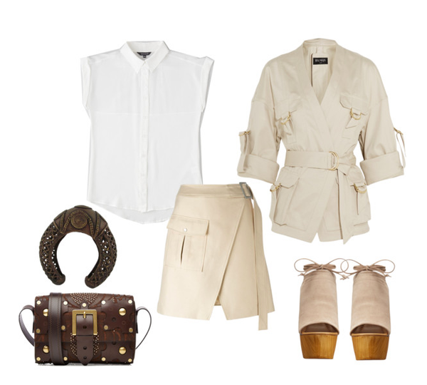 safari inspired styling white silk shirts with khaki separates