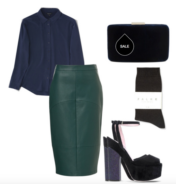 luxe separates silk shirt leather skirt