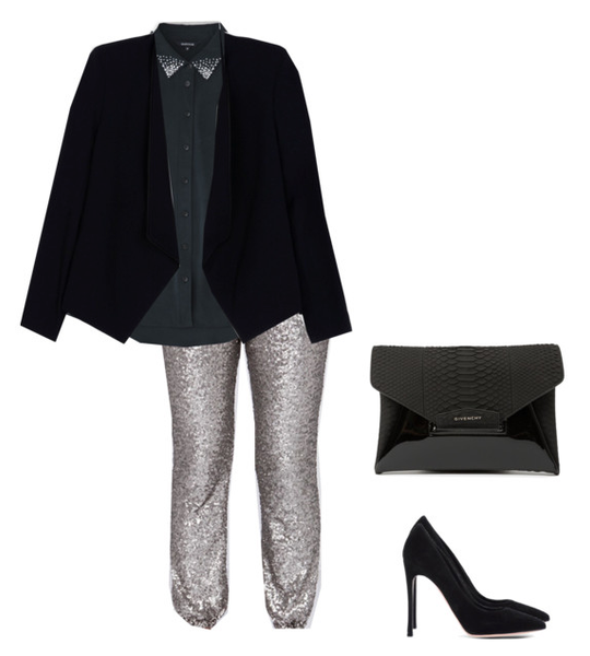 fashion sweatpants styled with a blazer and black silk shirt