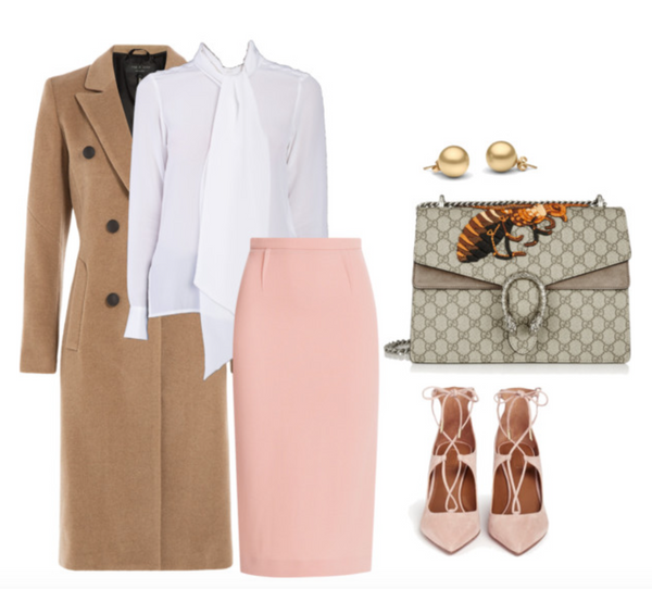 white shirt styled with pencil skirt and trench coat paired with gucci handbag for fashion week