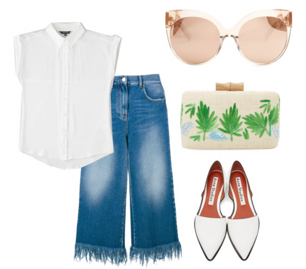 spring fashion interpretation white shirt with frayed denim