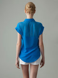 women's sheer blue silk shirt back view