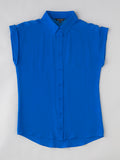 women's blue button front silk shirt