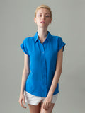 women's short sleeve blue silk shirt