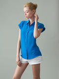 women's cap sleeve blue silk shirt