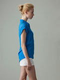 women's blue silk shirt side view
