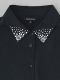 black silk shirt with crystal collar detail view