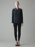 black silk shirt with swarovsky accent
