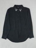 black silk cocktail blouse