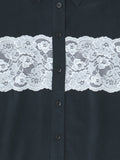 white lace detail on black shirt