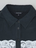 black silk shirt collar detail