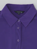 purple silk collared shirt