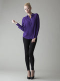 purple silk blouse