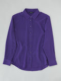 purple silk button front shirt flat lay