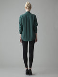 emerald green silk blouse back