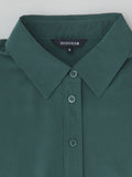 green silk blouse collar detail