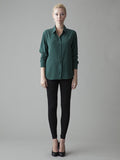forrest green silk shirt
