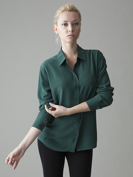 emerald green silk shirt