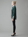 deep green silk shirt side view