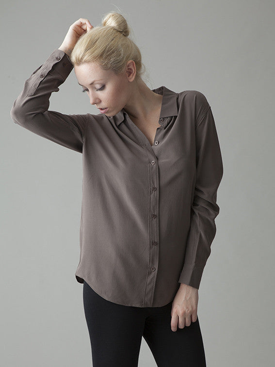 greige silk shirt