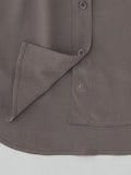 taupe silk shirt hem detail view