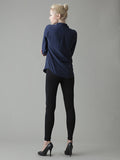 classic navy blouse back view