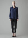 navy button front silk blouse