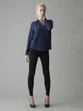 navy blue collared silk shirt