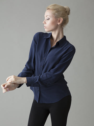 navy silk shirt