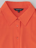 orange button front shirt collar detail