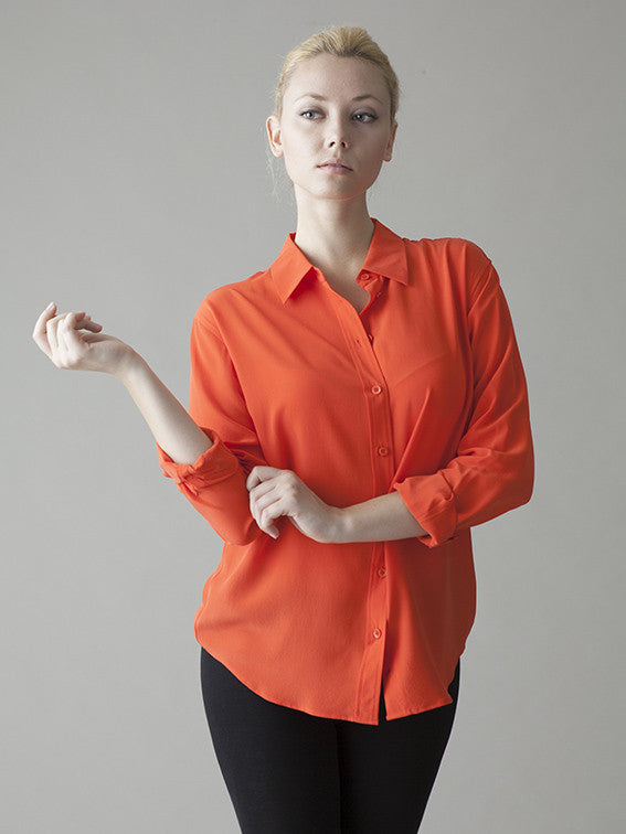 bright orange silk button up blouse