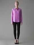 pink button front silk blouse