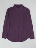 plum silk collared shirt flat lay