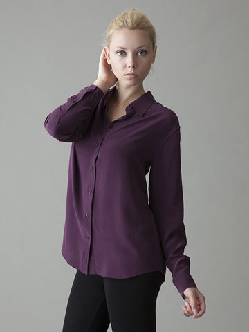 plum silk button front shirt