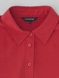 red silk shirt collar