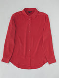 red silk blouse flay lay