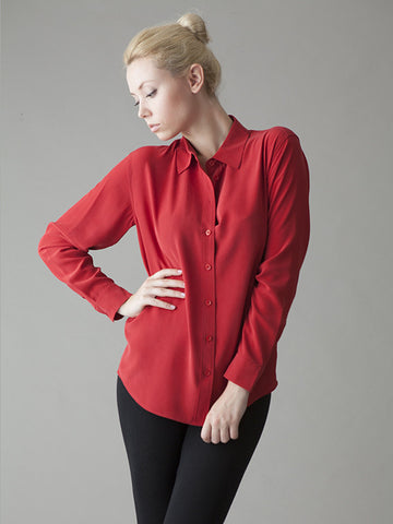 classic red silk blouse
