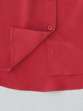 red silk button shirt detail