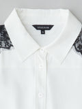 white shirt with black lace collar detail view