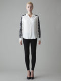 classic white silk shirt with black lace