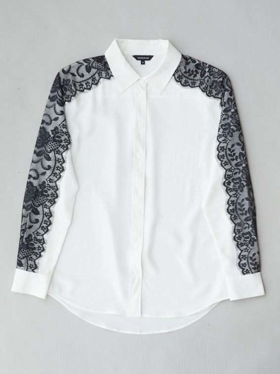 ba743c377b6aa ... white silk blouse with black lace flatlay ...