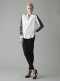white silk button front blouse with black lace