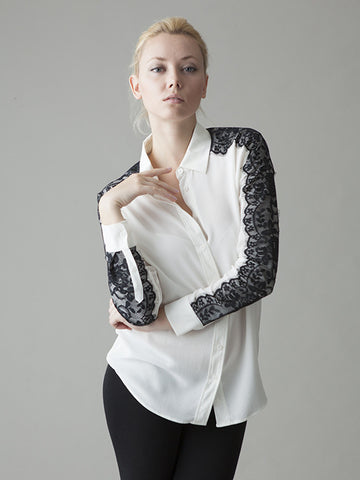 white silk button front shirt with black lace