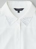white shirt with crystals at collar detail